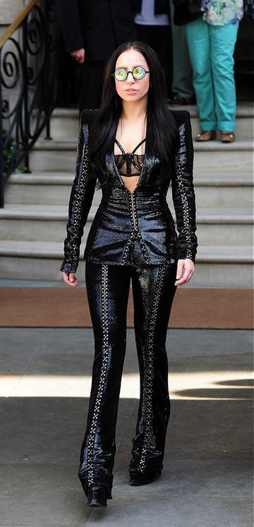 Lady Gaga leaving her hotel in London