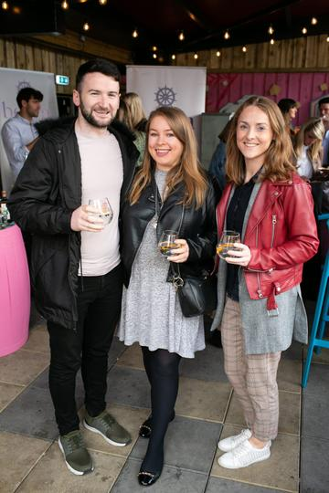 Dave O'Regan, Mairead Cahalan and Eilis Smith at the SuperValu Gin Garden held at Opium Rooftop Garden, Dublin.