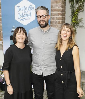 Caoimhe NíDhuibhinn, Niall Watters and Sarah Dee at the launch of Taste the Island, a 12 week celebration of Ireland's seasonal ingredients, adventurous tastes and bold experiences taking place this September, October and November. Photo: Kieran Harnett