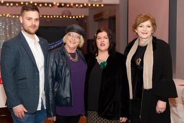 Damien Gordon, Kate Ní Fhlaitharta, Mags Ní Fhlatharta and Mags Linnane pictured at the Valentine's Day Wrap Party of the soap opera Ros na Rún in Park Lodge Hotel, Spiddal.  Photo: Martina Regan.
