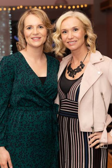 Marion Ní Loingsigh  and Máire Eilis Ní Fhlatharta pictured at the Valentine's Day Wrap Party of the soap opera Ros na Rún in Park Lodge Hotel, Spiddal.  Photo: Martina Regan.