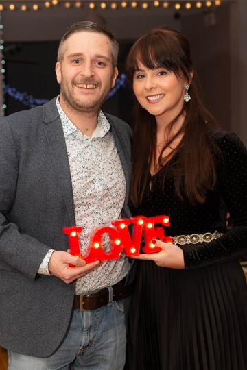Conall O'Céidigh and Elaine O'Hara pictured at the Valentine's Day Wrap Party of the soap opera Ros na Rún in Park Lodge Hotel, Spiddal.  Photo: Martina Regan.