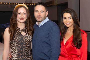 Mairín De Buitléir, Pól O'Griofa and Brídín Ní Mhaoldomhnaigh pictured at the Valentine's Day Wrap Party of the soap opera Ros na Rún in Park Lodge Hotel, Spiddal.  Photo: Martina Regan.