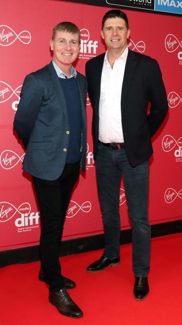 Stephen Kenny and Niall Quinnat the Virgin Media Dublin International Film Festival Irish Premiere screening of Street Leagues at Cineworld Dublin. Pic: Brian McEvoy Photography