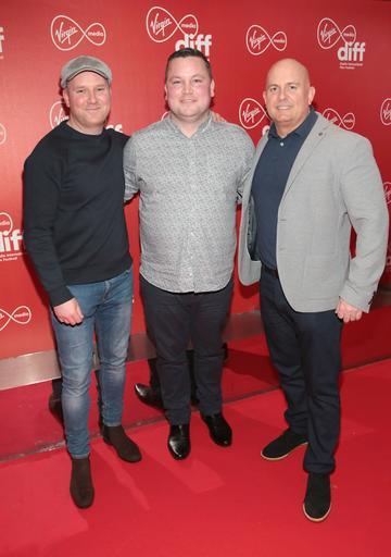 Sean Kelly, John Connors and Tiernan Williams at the Virgin Media Dublin International Film Festival Irish Premiere of Innocent Boy at the Lighthouse Cinema, Dublin. Pic: Brian McEvoy.