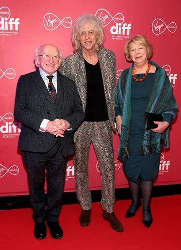 President Michael D Higgins and his wife Sabina with Bob Geldof at the World Premiere of Citizens of Boomtown at the Virgin Media Dublin International Film Festival at Cineworld, Dublin. Pic: Brian McEvoy Photography.