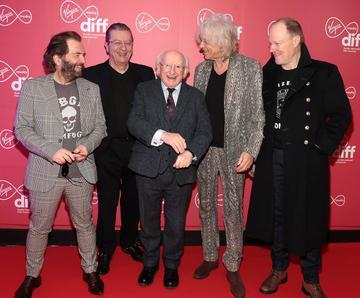 Bob Geldof and the Boomtown Rats meet President Michael D Higgins at the Virgin Media Dublin International Film Festival Irish Premiere of Innocent Boy at the Lighthouse Cinema, Dublin. Pic: Brian McEvoy Photography.