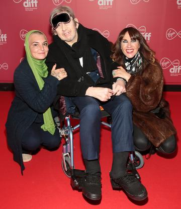 Sinead O Connor, Shane MacGowan and Victoria Mary Clarke at the World Premiere of Citizens of Boomtown at the Virgin Media Dublin International Film Festival at Cineworld, Dublin. Pic: Brian McEvoy Photography.