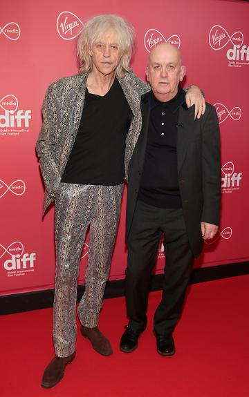 Bob Geldof and Billy McGrath at the World Premiere of Citizens of Boomtown at the Virgin Media Dublin International Film Festival at Cineworld, Dublin. Pic: Brian McEvoy Photography.