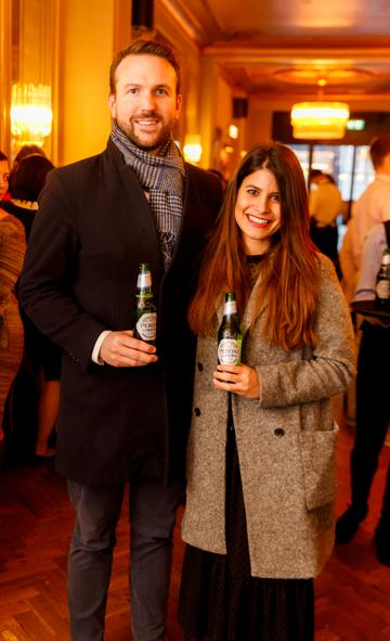 James O'Connell and Lucia Cavallaro at the launch of Cinema di Peroni, celebrating Italy in the movies, and the latest addition to its portfolio Peroni Libera 0.0%. Cinema di Peroni Dublin took place at The Stella Cinema in Rathmines, screening the award nominated The Talented Mr. Ripley. Picture: Andres Poveda