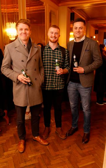 Kieran Farmer,. Mike Lordan and Colm McGough at the launch of Cinema di Peroni, celebrating Italy in the movies, and the latest addition to its portfolio Peroni Libera 0.0%. Cinema di Peroni Dublin took place at The Stella Cinema in Rathmines, screening the award nominated The Talented Mr. Ripley. Picture: Andres Poveda