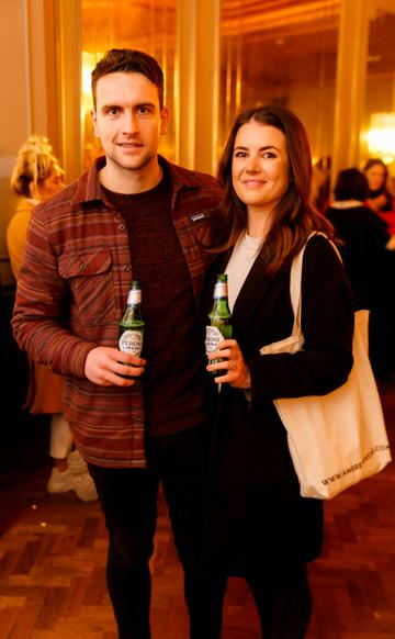 Dan Nugent and Sacha Cahill at the launch of Cinema di Peroni, celebrating Italy in the movies, and the latest addition to its portfolio Peroni Libera 0.0%. Cinema di Peroni Dublin took place at The Stella Cinema in Rathmines, screening the award nominated The Talented Mr. Ripley. Picture: Andres Poveda