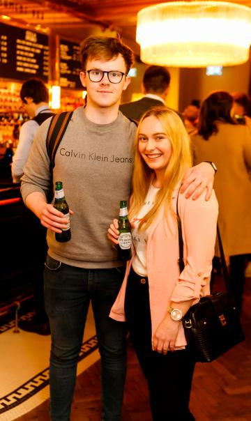 Gary Brady and Dee Cullen at the launch of Cinema di Peroni, celebrating Italy in the movies, and the latest addition to its portfolio Peroni Libera 0.0%. Cinema di Peroni Dublin took place at The Stella Cinema in Rathmines, screening the award nominated The Talented Mr. Ripley. Picture: Andres Poveda