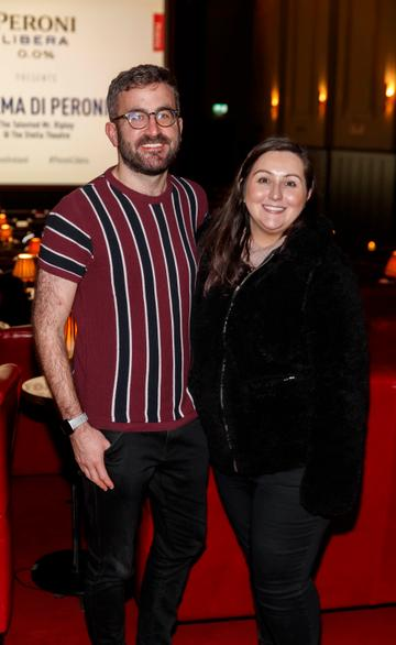 Patrick Kavanagh and Laura Denning at the launch of Cinema di Peroni, celebrating Italy in the movies, and the latest addition to its portfolio Peroni Libera 0.0%. Cinema di Peroni Dublin took place at The Stella Cinema in Rathmines, screening the award nominated The Talented Mr. Ripley. Picture: Andres Poveda