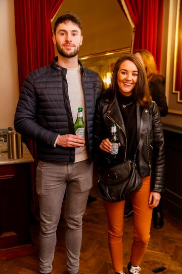Stuart O'Donnel and Mariah Stack at the launch of Cinema di Peroni, celebrating Italy in the movies, and the latest addition to its portfolio Peroni Libera 0.0%. Cinema di Peroni Dublin took place at The Stella Cinema in Rathmines, screening the award nominated The Talented Mr. Ripley. Picture: Andres Poveda
