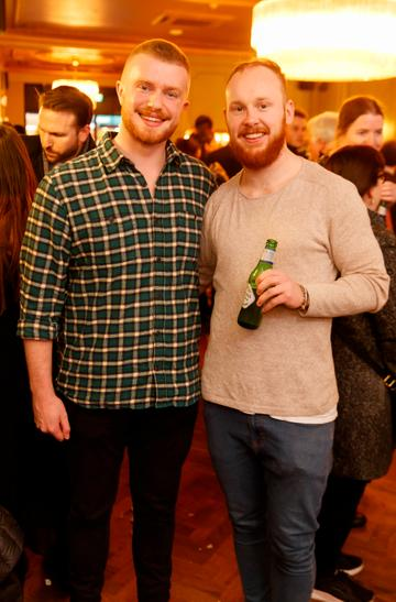 Mike Lordan and Charlie O'Regan at the launch of Cinema di Peroni, celebrating Italy in the movies, and the latest addition to its portfolio Peroni Libera 0.0%. Cinema di Peroni Dublin took place at The Stella Cinema in Rathmines, screening the award nominated The Talented Mr. Ripley. Picture: Andres Poveda