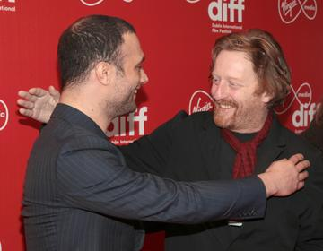 Actors Cosmos Jarvis and David Wilmot at the Virgin Media Dublin International Film Festival Irish Premiere screening  of Calm With Horses at the Lighthouse Cinema, Dublin. Picture: Brian McEvoy.