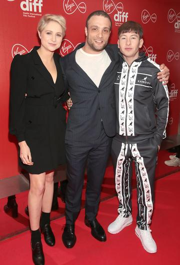 Niamh Algar, Cosmos Jarvi and Barry Keoghan at the Virgin Media Dublin International Film Festival Irish Premiere screening  of Calm With Horses at the Lighthouse Cinema, Dublin. Picture: Brian McEvoy.