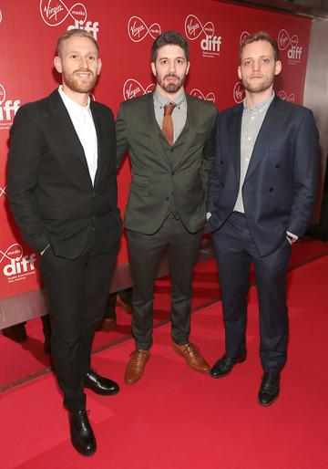 Daniel Emmerson ,Joe Murtagh and Theo Barrowclough at the Virgin Media Dublin International Film Festival Irish Premiere screening  of Calm With Horses at the Lighthouse Cinema, Dublin. Picture: Brian McEvoy.