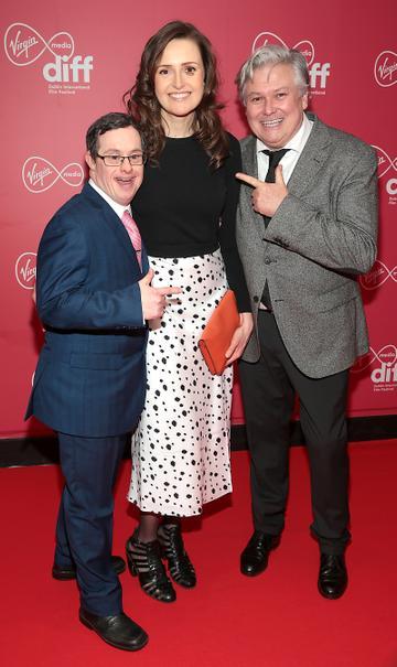 Daniel Ryan, Clare Dunne and Conleth Hill at the Virgin Media Dublin International Film Festival Closing Gala screening of Herself at Cineworld, Dublin. Picture: Brian McEvoy.