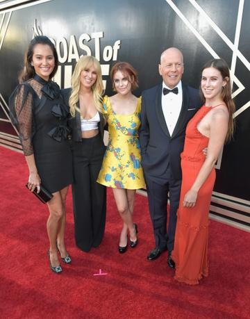2018: (L-R) Emma Heming, Rumer Willis, Tallulah Willis, Bruce Willis and Scout Willis attend the Comedy Central Roast of Bruce Willis at Hollywood Palladium on July 14, 2018 in Los Angeles, California.  (Photo by Neilson Barnard/Getty Images For Comedy Central)