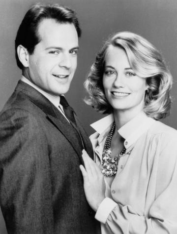 1985: Bruce Willis and Cybil Shepherd pictuerd on set of the television show 'Moonlighting', which aired from 1985-1989.