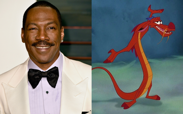 Eddie Murphy voiced the character of Mushu in Milan (1998). Photo by Pascal Le Segretain via Getty Images/@1998 DIsney All Rights Reserved.