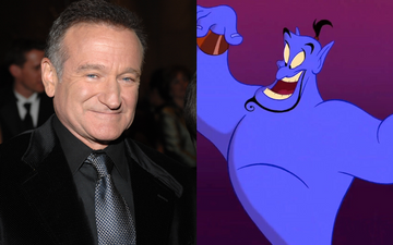 Robin WIlliams famously voiced the character of Genie in Aladdin (1992). Photo by L. Cohenvia Getty Images/@1992 Disney All RIghts Reserved.
