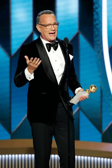 2020: In this handout photo provided by NBCUniversal Media, LLC,  Tom Hanks accepts the CECIL B. DEMILLE AWARD onstage during the 77th Annual Golden Globe Awards at The Beverly Hilton Hotel on January 5, 2020 in Beverly Hills, California. (Photo by Paul Drinkwater/NBCUniversal Media, LLC via Getty Images)