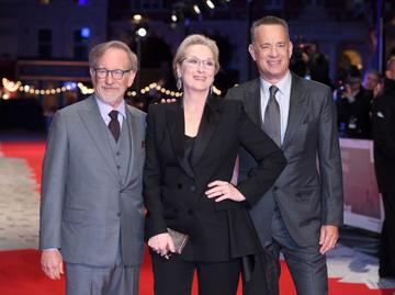 2018:  Steven Spielberg, Meryl Streep and Tom Hanks attend the European Premiere of 'The Post' at Odeon Leicester Square on January 10, 2018 in London, England.  (Photo by Karwai Tang/WireImage)