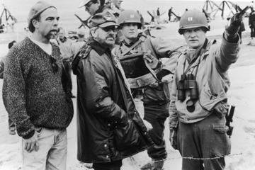 1998: Director Steven Spielberg and actor Tom Hanks on the set of the film, 'Saving Private Ryan. (Photo by Paramount Pictures/Fotos International/Getty Images)