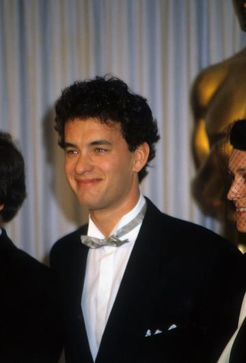 1987:  Actor Tom Hanks at Academy Awards in March 1987 in Los Angeles, California. (Photo by Donaldson Collection/Michael Ochs Archives/Getty Images)