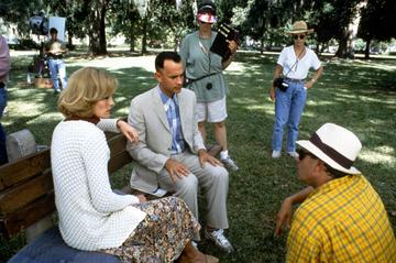 1994: Hanks pictured on the set of Forrest Gump directed by Robert Zemeckis. (Photo by Sunset Boulevard/Getty Images)