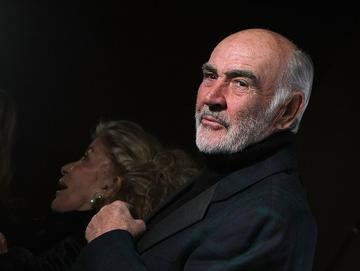 """Sir Sean Connery and Lady Connery attend the """"Dressed To Kilt"""" charity fashion show benefiting Friends of Scotland at M2 Lounge on March 30, 2009 in New York City.  (Photo by Michael Loccisano/Getty Images)"""
