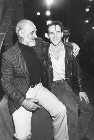 Actor Sean Connery and his son Jason on the set of the latter's new play, April 16th 1988. (Photo by Dave Hogan/Getty Images)