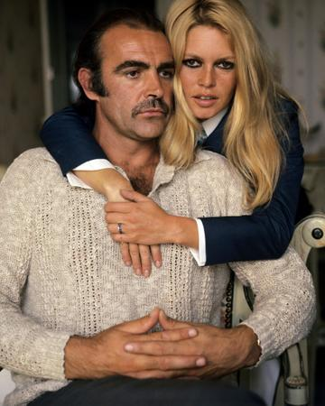 French actress and sex symbol Brigitte Bardot and British actor Sean Connery pose for a publicity shot during their first meeting in France before filming Shalako, 1968. (Photo by Silver Screen Collection/Getty Images)