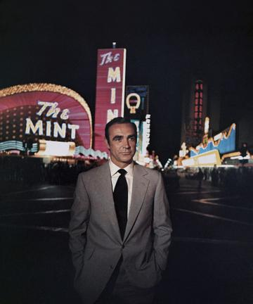 LAS VEGAS - 1971:  Actor Sean Connery poses as James Bond in a scene from the United Artists film 'Diamonds Are Forever' in 1971 in Las Vegas, Nevada.  (Photo by Donaldson Collection/Michael Ochs Archives/Getty Images)