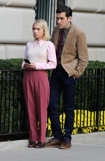 """Tavi Gevinson is seen on the set of """"Gossip Girl"""" on November 10, 2020 in New York City.  (Photo by Jose Perez/Bauer-Griffin/GC Images)"""