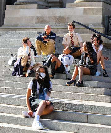 Whitney Peak, Evan Mock, Emily Alyn Lind, Thomas Doherty, Eli Brown, Jordan Alexander, Zion Moreno, Savannah Lee Smith are seen at the film set of the 'Gossip Girl' TV Series on November 10, 2020 in New York City.  (Photo by Jose Perez/Bauer-Griffin/GC Images)