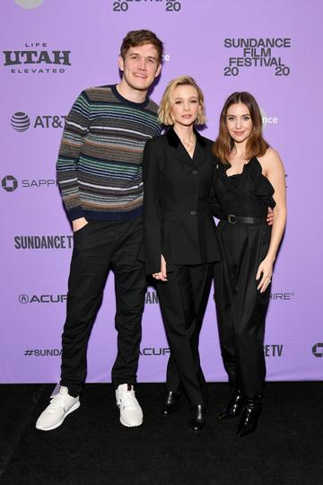 """Bo Burnham, Carey Mulligan and Alison Brie attend the 2020 Sundance Film Festival - """"Promising Young Woman"""" Premiere at The Marc Theatre on January 25, 2020 in Park City, Utah. (Photo by Dia Dipasupil/Getty Images)"""