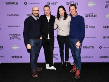"""Peter Kujawski, Robert Walak, Kiska Higgs, and Jason Cassidy attend the 2020 Sundance Film Festival - """"Promising Young Woman"""" Premiere at The Marc Theatre on January 25, 2020 in Park City, Utah. (Photo by Dia Dipasupil/Getty Images)"""