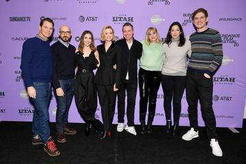 """Jason Cassidy, Peter Kujawski, Alison Brie, Carey Mulligan, Robert Walak, Emerald Fennell, Kiska Higgs, and Bo Burnham attend the 2020 Sundance Film Festival - """"Promising Young Woman"""" Premiere at The Marc Theatre on January 25, 2020 in Park City, Utah. (Photo by Dia Dipasupil/Getty Images)"""