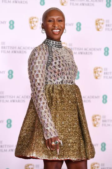 Awards Presenter Cynthia Erivo attends the EE British Academy Film Awards 2021 at the Royal Albert Hall on April 11, 2021 in London, England. (Photo by Jeff Spicer/Getty Images)