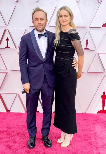 (L-R) Derek Cianfrance and Shannon Plumb attend the 93rd Annual Academy Awards at Union Station on April 25, 2021 in Los Angeles, California. (Photo by Chris Pizzello-Pool/Getty Images)
