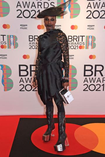Billy Porter arrives at The BRIT Awards 2021 at The O2 Arena on May 11, 2021 in London, England.  (Photo by David M. Benett/Dave Benett/Getty Images)