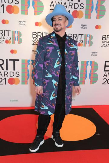 Boy George arrives at The BRIT Awards 2021 at The O2 Arena on May 11, 2021 in London, England.  (Photo by David M. Benett/Dave Benett/Getty Images)