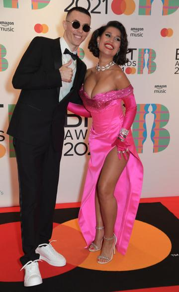 Regard and Raye arrive at The BRIT Awards 2021 at The O2 Arena on May 11, 2021 in London, England.  (Photo by David M. Benett/Dave Benett/Getty Images)