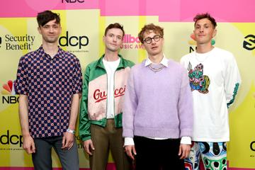 Edmund Irwin-Singer, Drew MacFarlane, Dave Bayley, and Joe Seaward of Glass Animals pose backstage for the 2021 Billboard Music Awards, broadcast on May 23, 2021 at Microsoft Theater in Los Angeles, California. (Photo by Rich Fury/Getty Images for dcp)