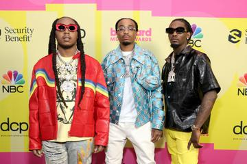 Takeoff, Quavo, and Offset of Migos pose backstage for the 2021 Billboard Music Awards, broadcast on May 23, 2021 at Microsoft Theater in Los Angeles, California. (Photo by Rich Fury/Getty Images for dcp)