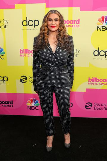 Tina Knowles-Lawson poses backstage for the 2021 Billboard Music Awards, broadcast on May 23, 2021 at Microsoft Theater in Los Angeles, California. (Photo by Rich Fury/Getty Images for dcp)